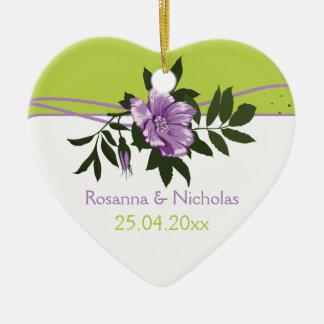 Wild purple rose floral wedding green keepsake ceramic heart decoration