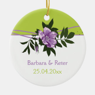 Wild purple rose floral wedding green keepsake round ceramic decoration