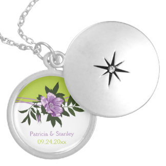 Wild purple rose floral wedding green keepsake round locket necklace