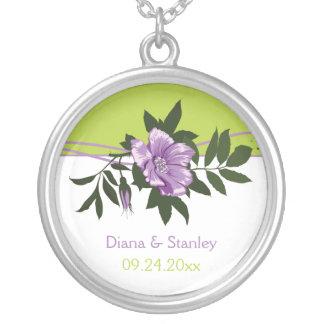Wild purple rose floral wedding green keepsake round pendant necklace