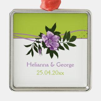 Wild purple rose floral wedding green keepsake Silver-Colored square decoration