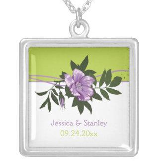 Wild purple rose floral wedding green keepsake square pendant necklace
