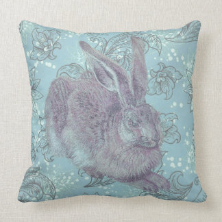 Wild Rabbit with Flowers Throw Pillow