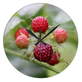 Wild Raspberries Large Clock