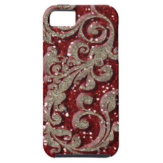 Wild Red Festive Glitter Look Tough iPhone 5 Case
