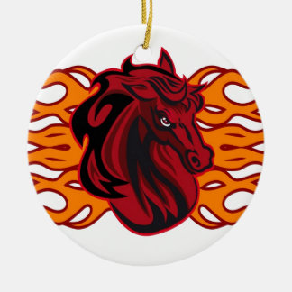 Wild red mustang horse ceramic ornament