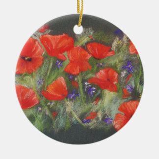 Wild red poppies display ceramic ornament