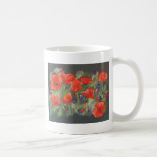 Wild red poppies display coffee mug
