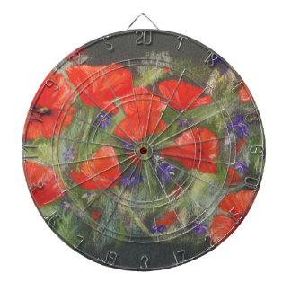 Wild red poppies display dartboard