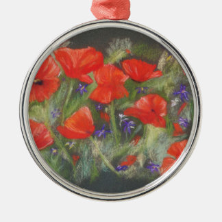 Wild red poppies display metal ornament