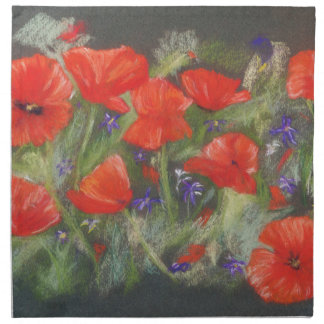 Wild red poppies display napkin