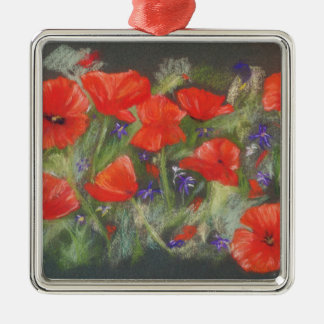 Wild red poppies display Silver-Colored square decoration