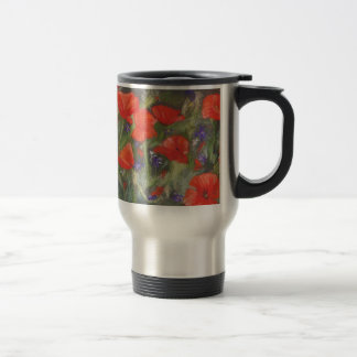 Wild red poppies display travel mug