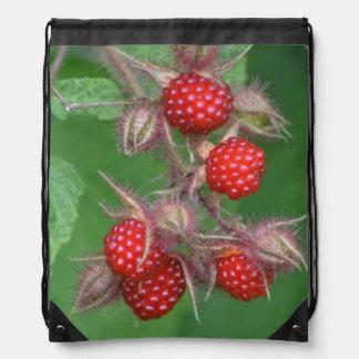 Wild Red Raspberries Drawstring Bag