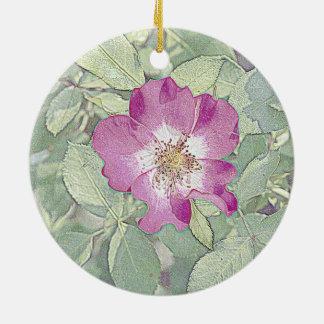 Wild red rose round ceramic decoration