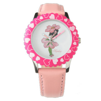 Wild Rose Cute Flower Child Floral Funny Girl Wrist Watches