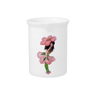 Wild Rose Cute Flower Child Floral Vintage Girl Pitcher