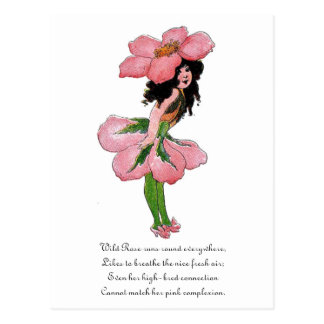 Wild Rose Cute Flower Child Floral Vintage Girl Postcard