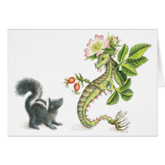 Wild Rose Dragon & skunk - card