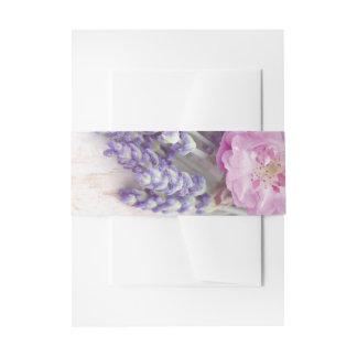 Wild Rose & Lavender Summer Flower Wedding Invitation Belly Band