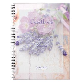 Wild Rose & Lavender Summer Wedding  guest book Spiral Notebooks