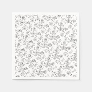 Wild Rose Line Art Design Paper Napkin