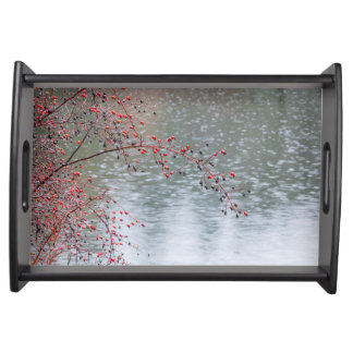 Wild Rose Tree Hanging a Pond | Seabeck, WA Serving Tray