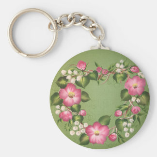Wild Rose Wreath Basic Round Button Key Ring