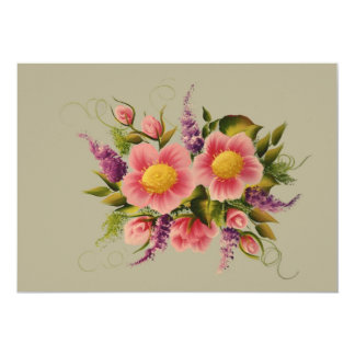 Wild Roses and Lilacs 13 Cm X 18 Cm Invitation Card
