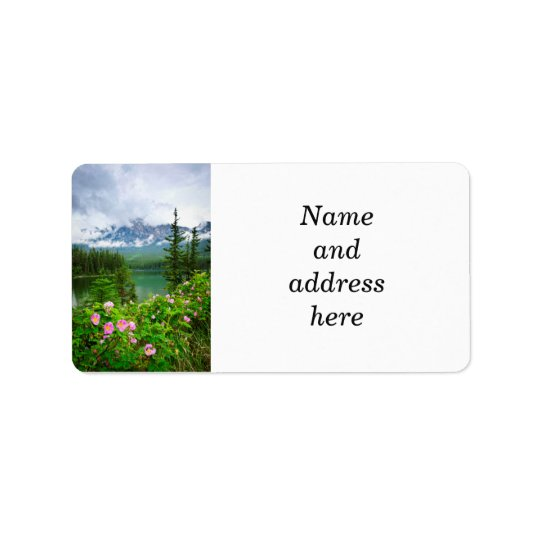 Wild roses and mountain lake in Jasper Label