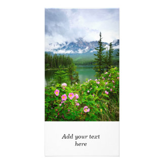 Wild roses and mountain lake in Jasper Personalized Photo Card