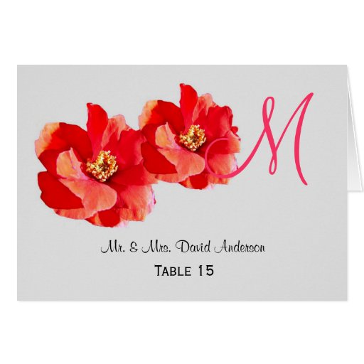 Wild Roses Monogram Wedding Place Card
