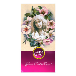 WILD ROSES WITH PINK FUCHSIA GEM STONE MONOGRAM PICTURE CARD