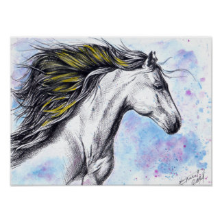 Wild running horse watercolor ink art Poster print