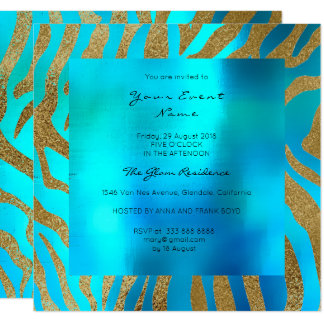 Wild Safari Animal Skin Ocean Blue Gold Card