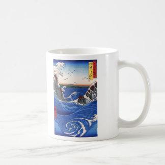 Wild sea breaking on the rocks, Hiroshige Coffee Mug