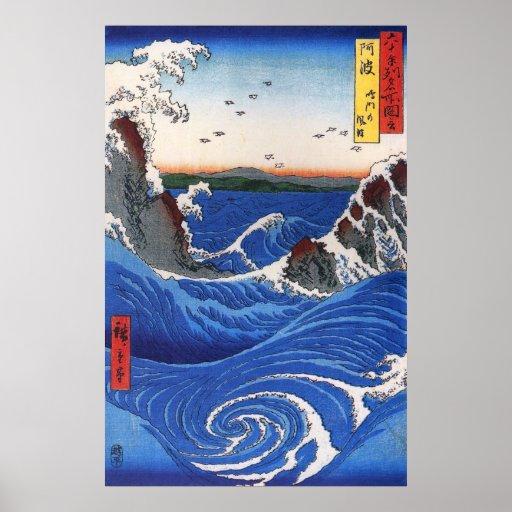 Wild sea breaking on the rocks, Hiroshige Posters