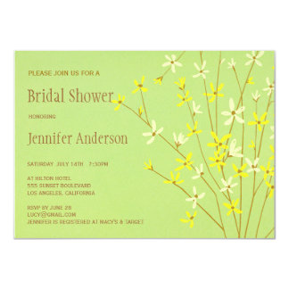 Wild Spring Flowers Lime Green Bridal Shower Card