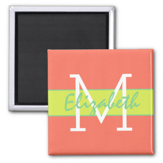Wild Summer Coral Sea Green Lime Monogram Square Magnet
