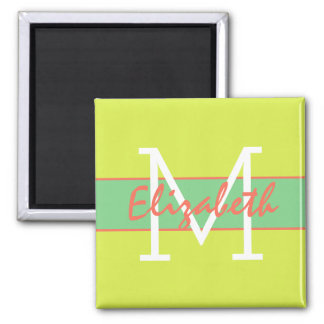 Wild Summer Lime Coral Sea Green Monogram Square Magnet