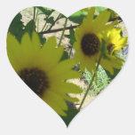 Wild Sunflowers Heart Sticker