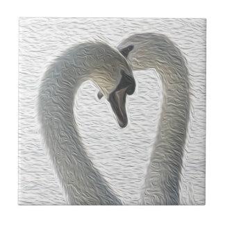 Wild Swans Heart Couple Art Ceramic Tile