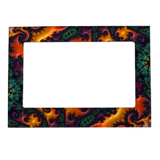 Wild Teal, Purple, Orange, and Yellow Fractal Magnetic Picture Frame