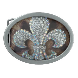 WILD THING FLEUR DE LIS ON LEOPARD PRINT OVAL BELT BUCKLE