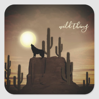 wild thing ~ Full Moon Wolf Howling Desert Cactus Square Sticker