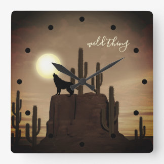wild thing ~ Full Moon Wolf Howling Desert Cactus Square Wall Clock