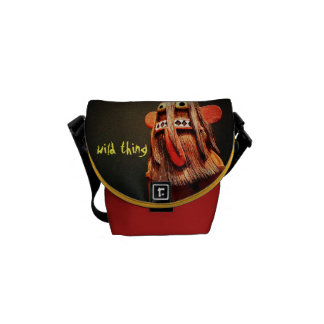 """Wild Thing"" Quote Cute Fun Silly Face Photo Mini Messenger Bags"