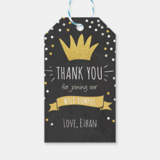 Wild things thank you favor gift tag Crown Boy