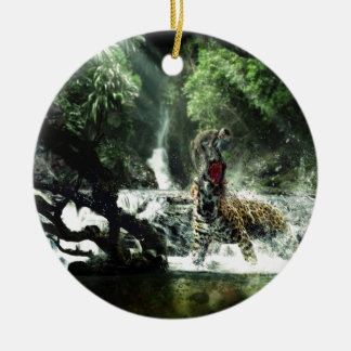 Wild Tiger Attacking a Monkey Round Ceramic Decoration
