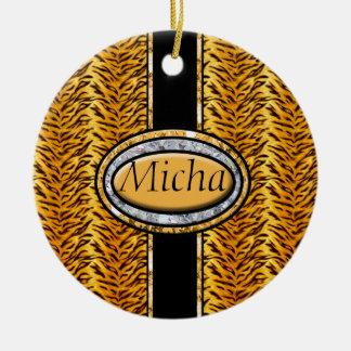 Wild Tiger Diamond Monogram Double-Sided Ceramic Round Christmas Ornament